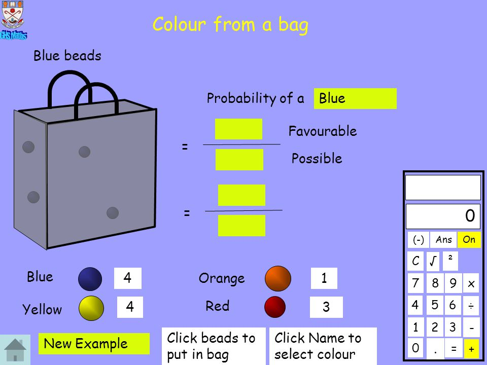 Colour from a bag Blue beads Probability of a Blue Favourable =