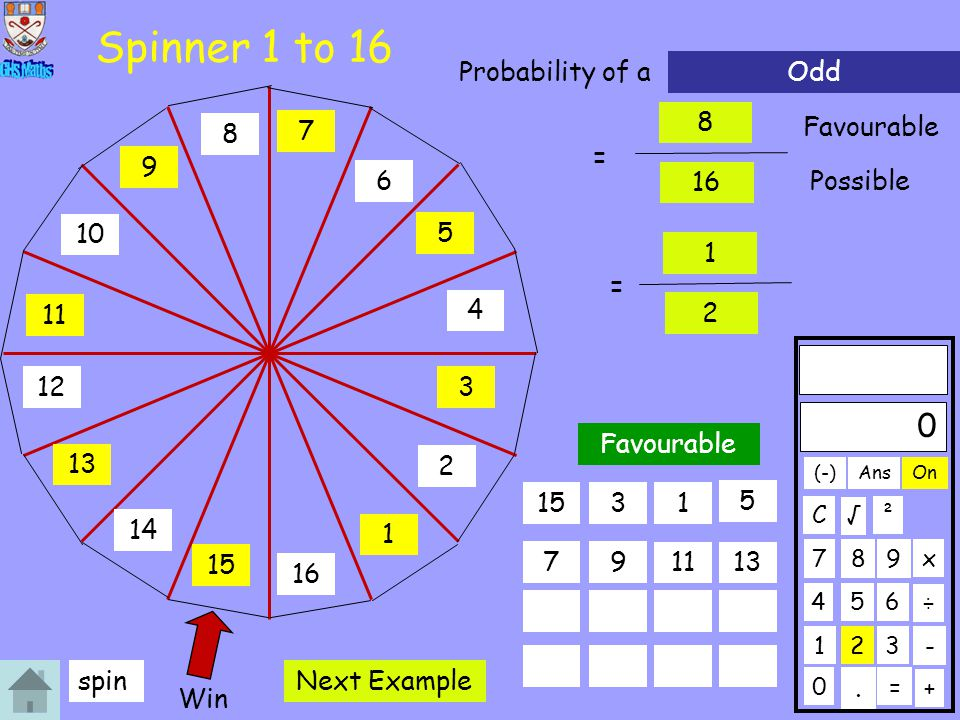 Spinner 1 to 16 Probability of a Odd 8 7 Favourable 8 = 9 6 16