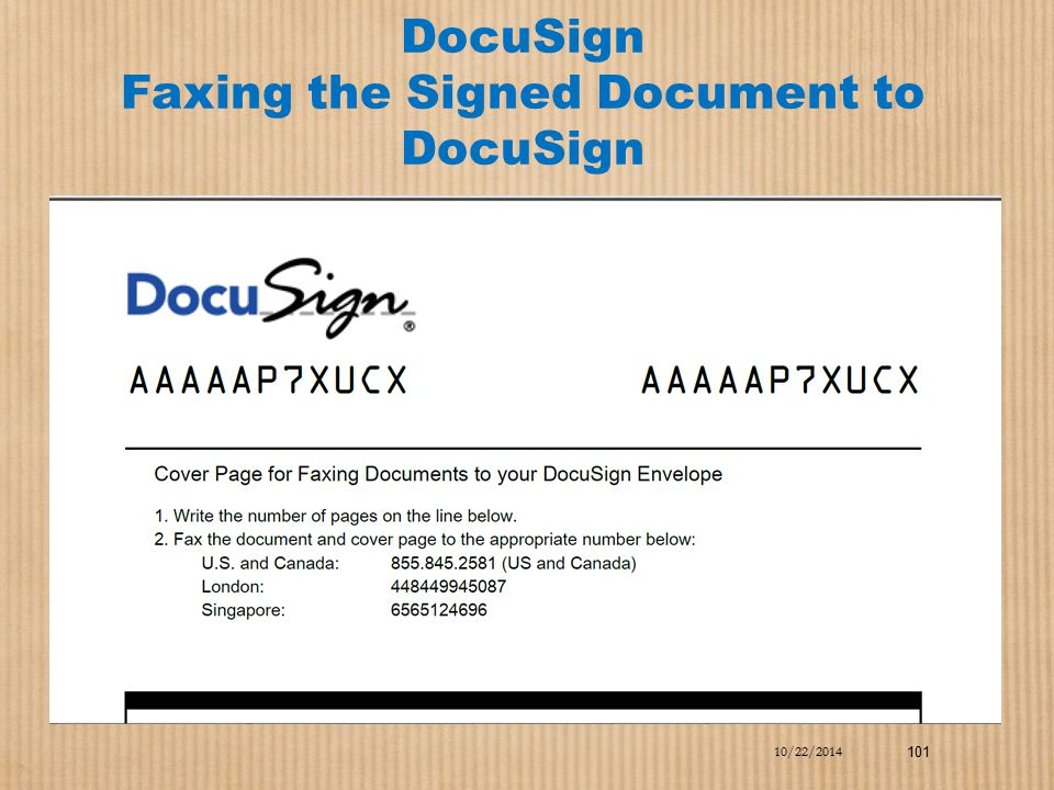 DocuSign Faxing the Signed Document to DocuSign