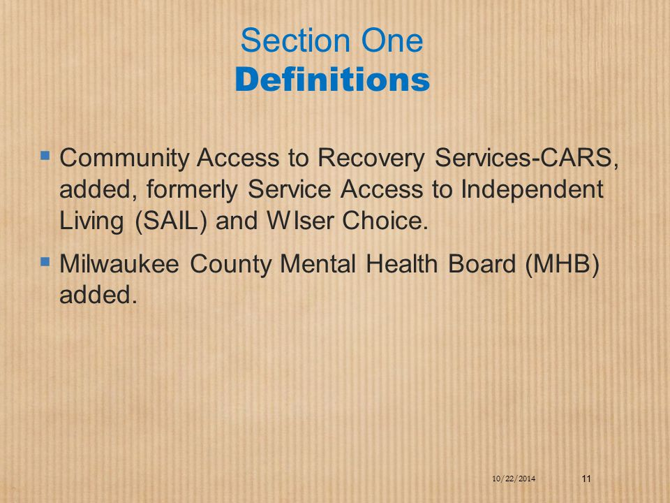 Section One Definitions