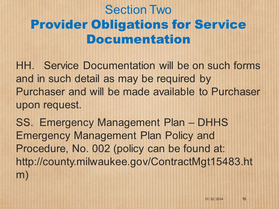 Section Two Provider Obligations for Service Documentation
