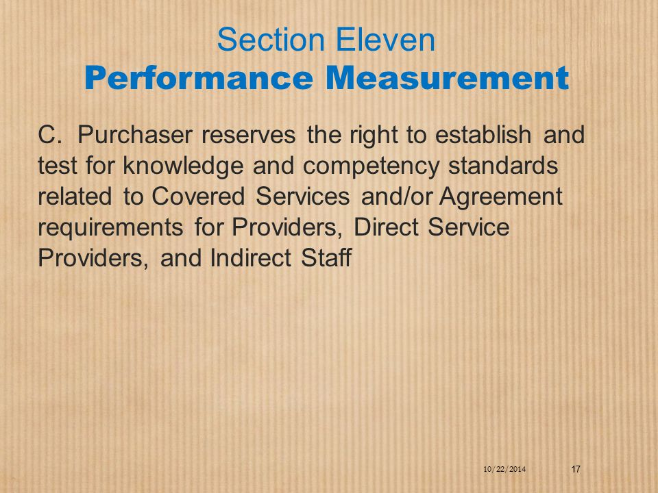 Section Eleven Performance Measurement