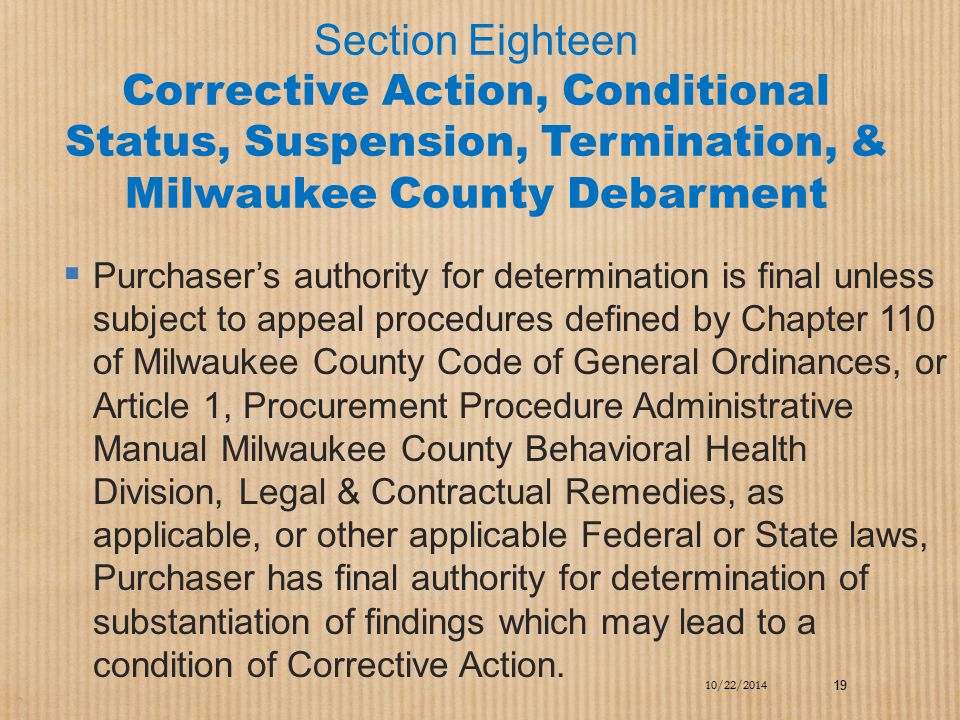 Section Eighteen Corrective Action, Conditional Status, Suspension, Termination, & Milwaukee County Debarment