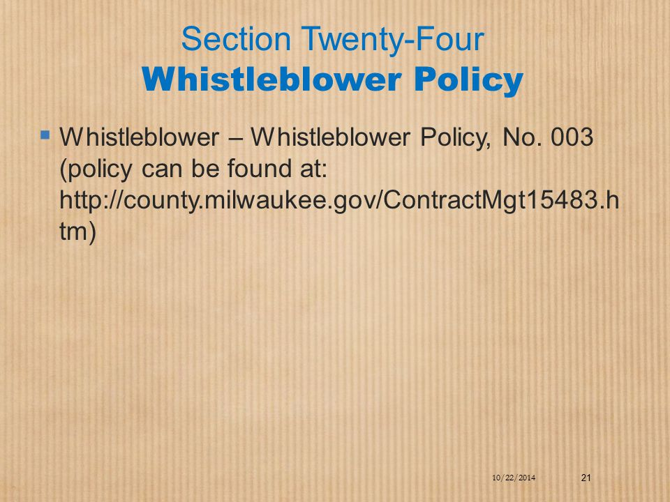 Section Twenty-Four Whistleblower Policy