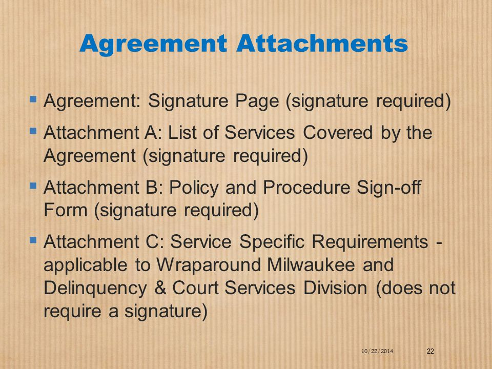 Agreement Attachments