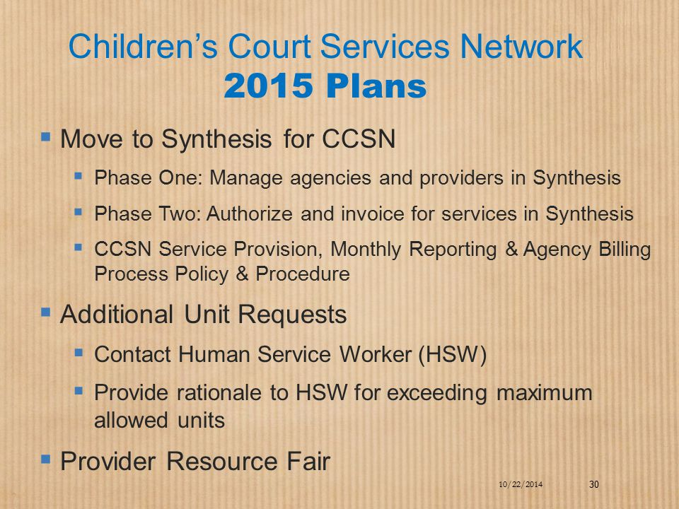 Children's Court Services Network 2015 Plans