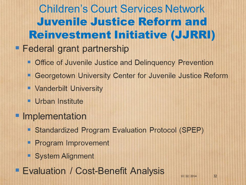 Children's Court Services Network Juvenile Justice Reform and Reinvestment Initiative (JJRRI)