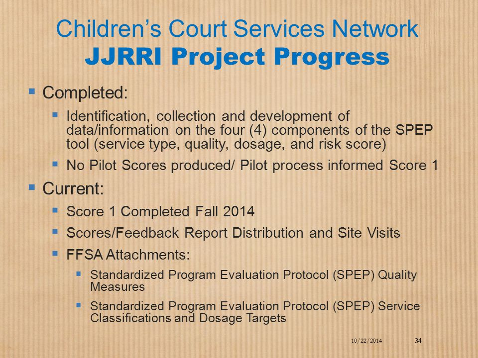 Children's Court Services Network JJRRI Project Progress