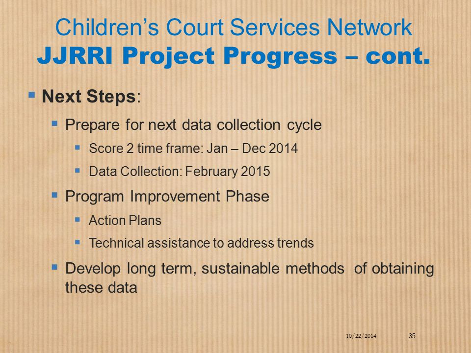 Children's Court Services Network JJRRI Project Progress – cont.