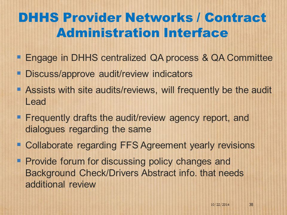 DHHS Provider Networks / Contract Administration Interface