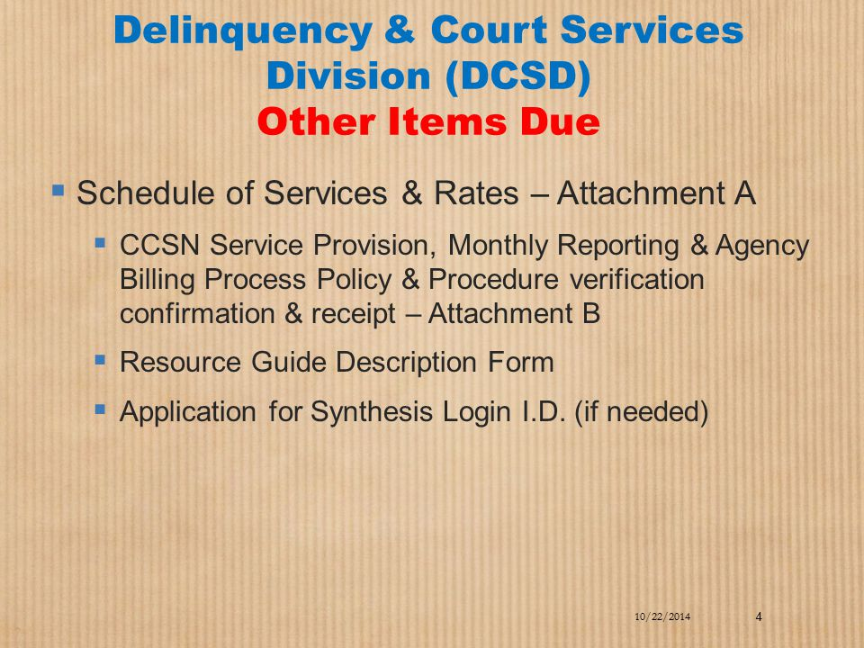 Delinquency & Court Services Division (DCSD) Other Items Due