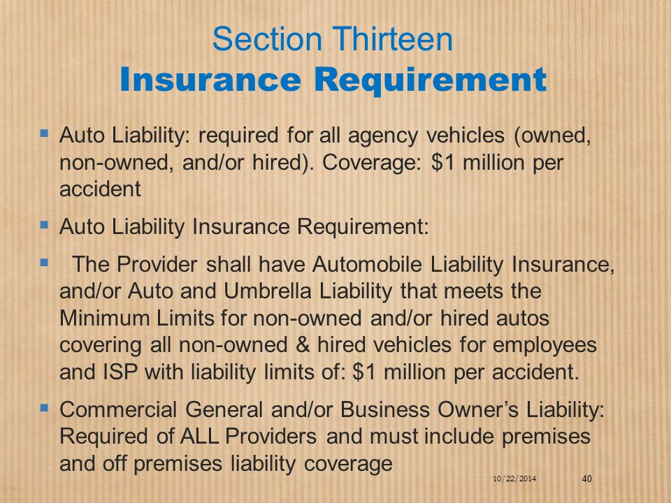 Section Thirteen Insurance Requirement