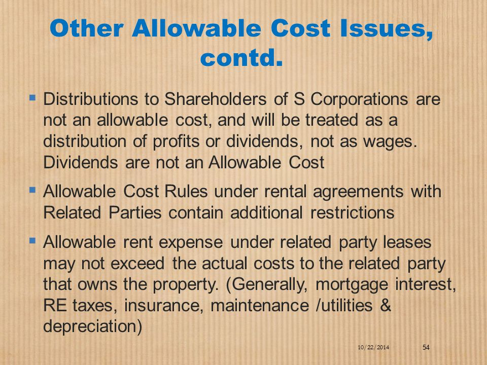 Other Allowable Cost Issues, contd.