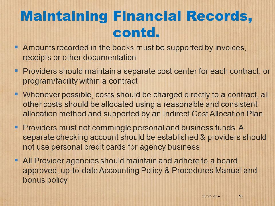 Maintaining Financial Records, contd.