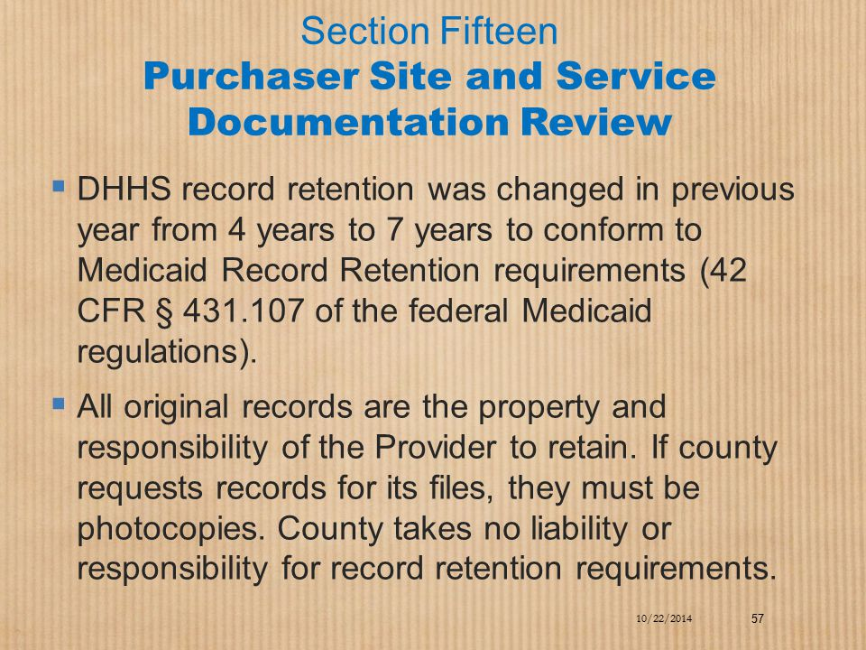 Section Fifteen Purchaser Site and Service Documentation Review