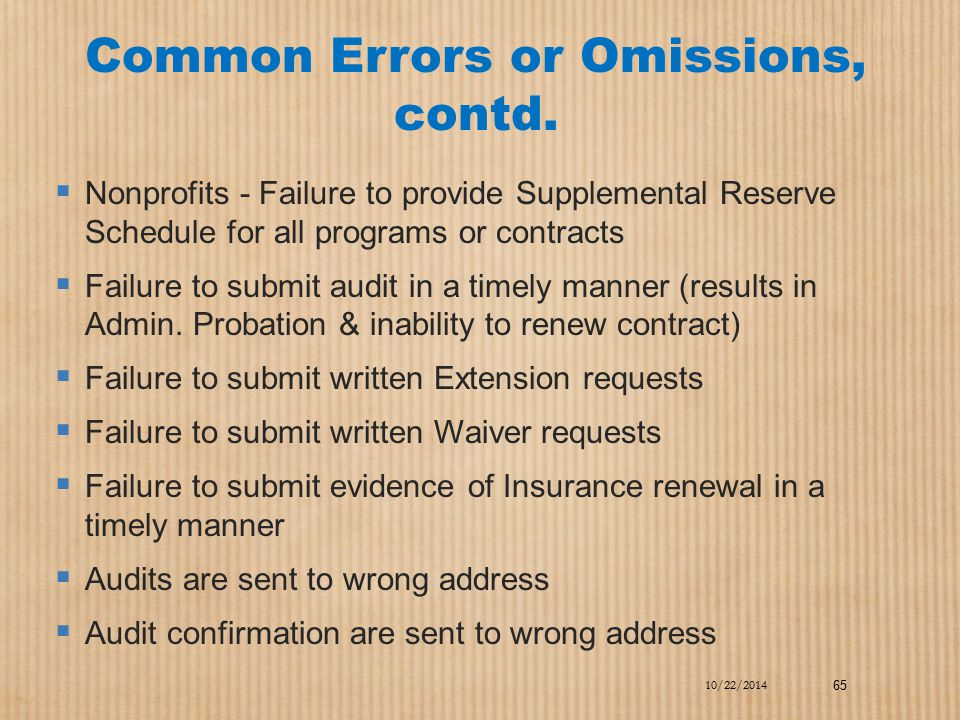 Common Errors or Omissions, contd.