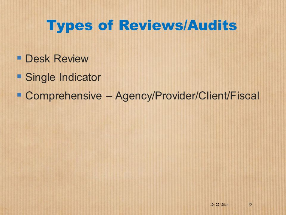 Types of Reviews/Audits