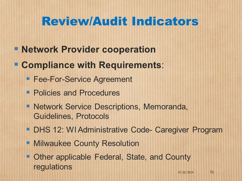 Review/Audit Indicators