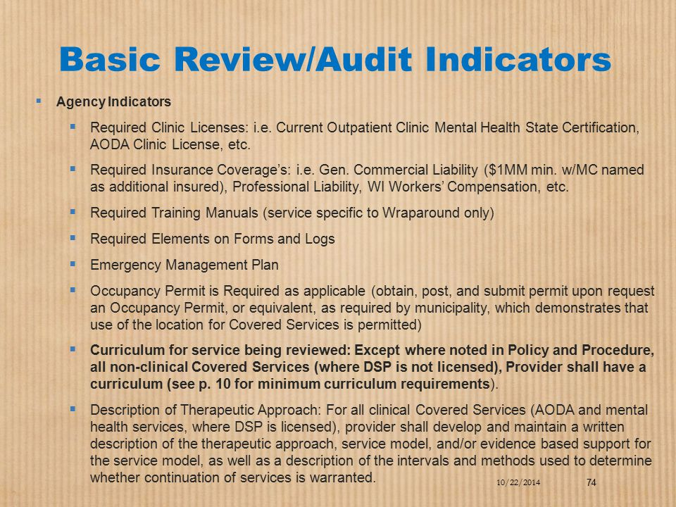 Basic Review/Audit Indicators