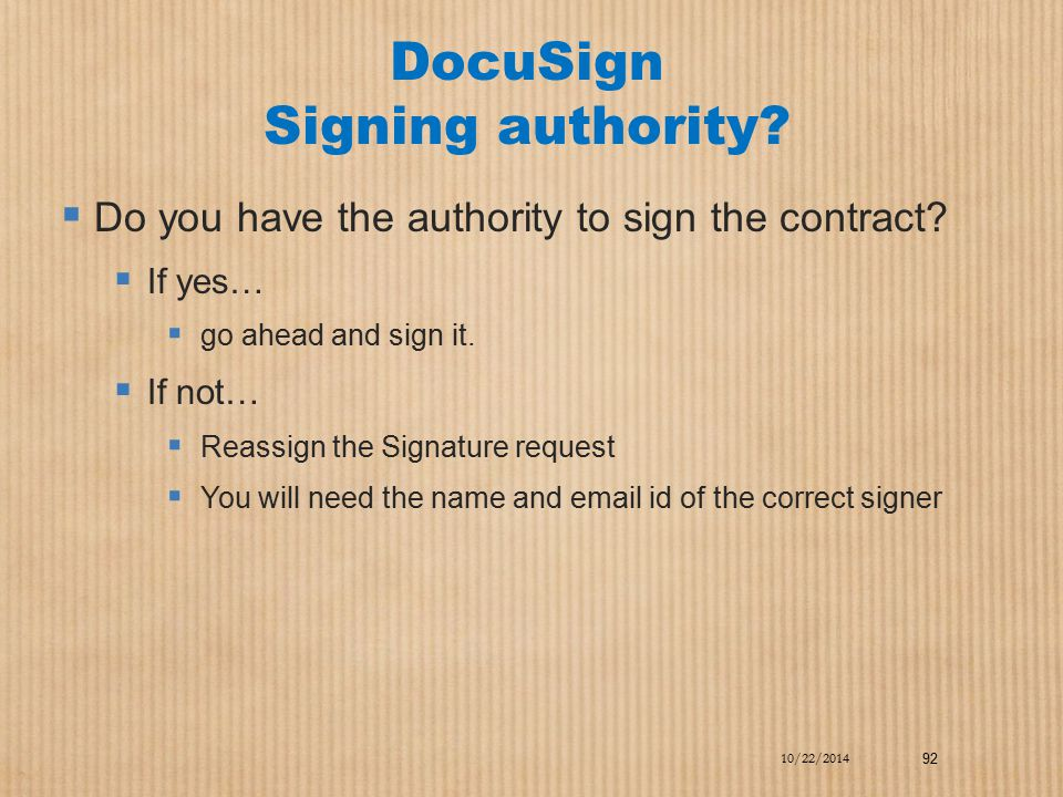 DocuSign Signing authority