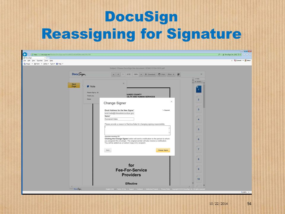 DocuSign Reassigning for Signature