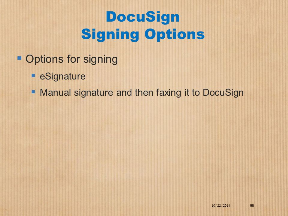 DocuSign Signing Options