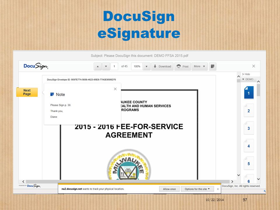 DocuSign eSignature 10/22/2014