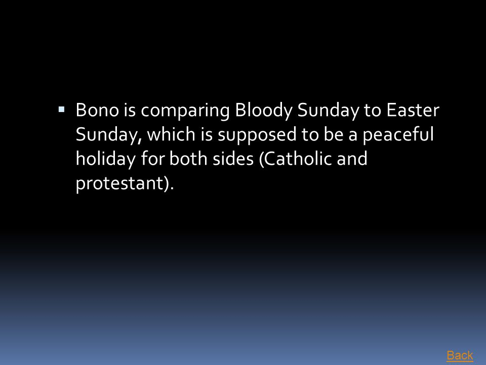Bono is comparing Bloody Sunday to Easter Sunday, which is supposed to be a peaceful holiday for both sides (Catholic and protestant).