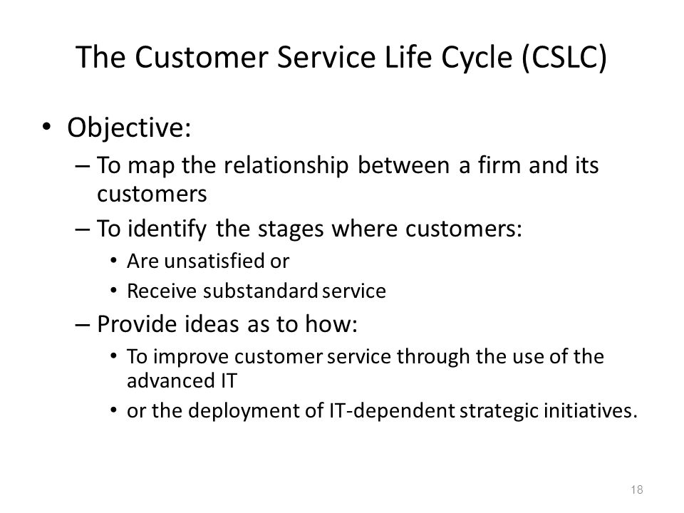 The Customer Service Life Cycle (CSLC)