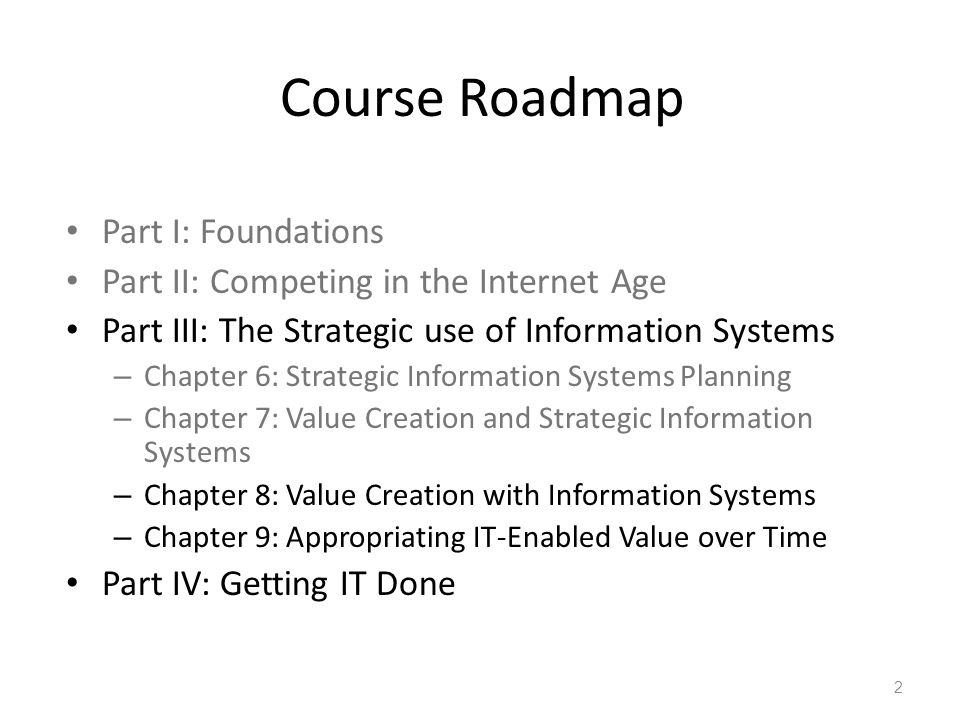 Course Roadmap Part I: Foundations