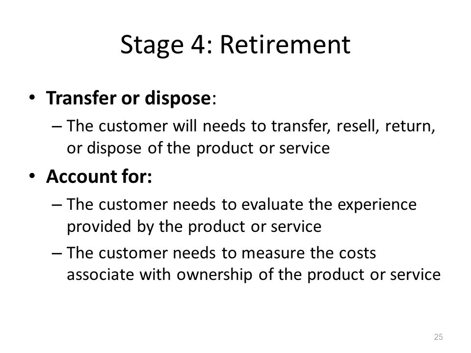 Stage 4: Retirement Transfer or dispose: Account for: