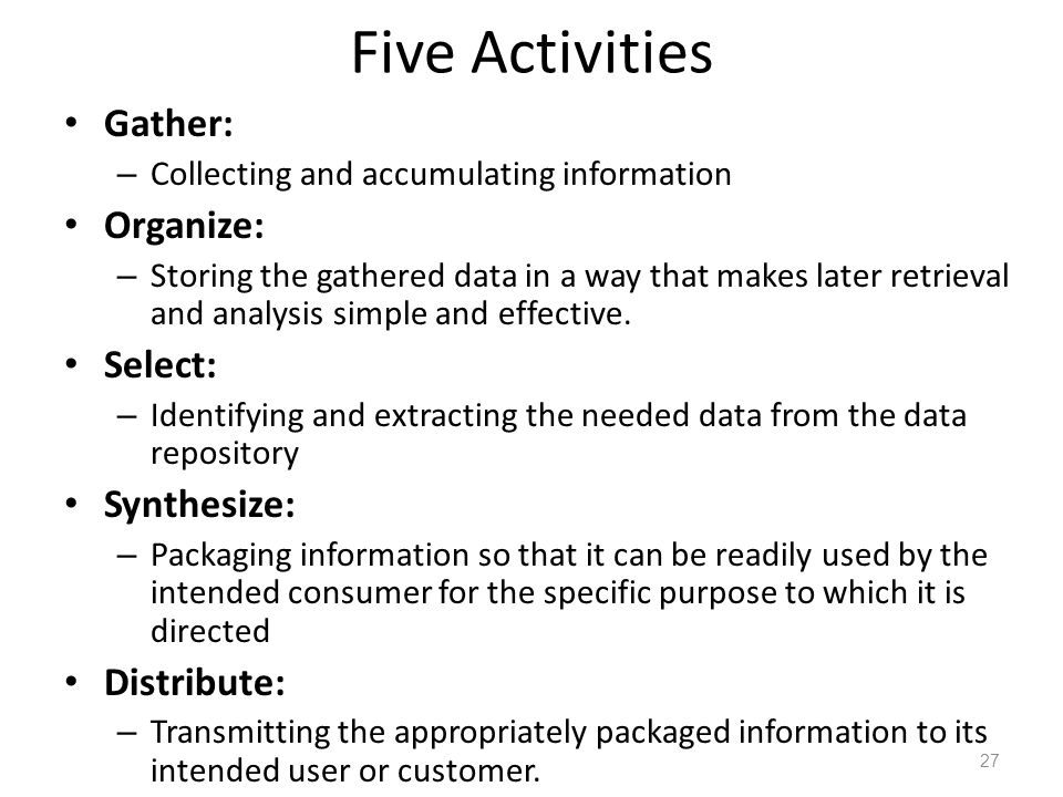Five Activities Gather: Organize: Select: Synthesize: Distribute:
