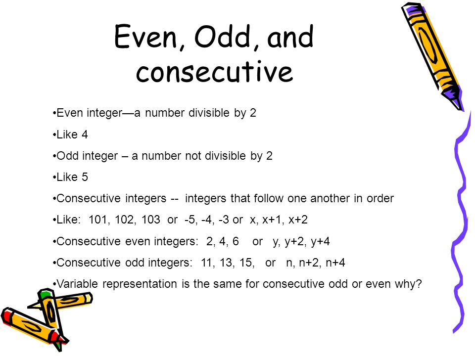 Even, Odd, and consecutive