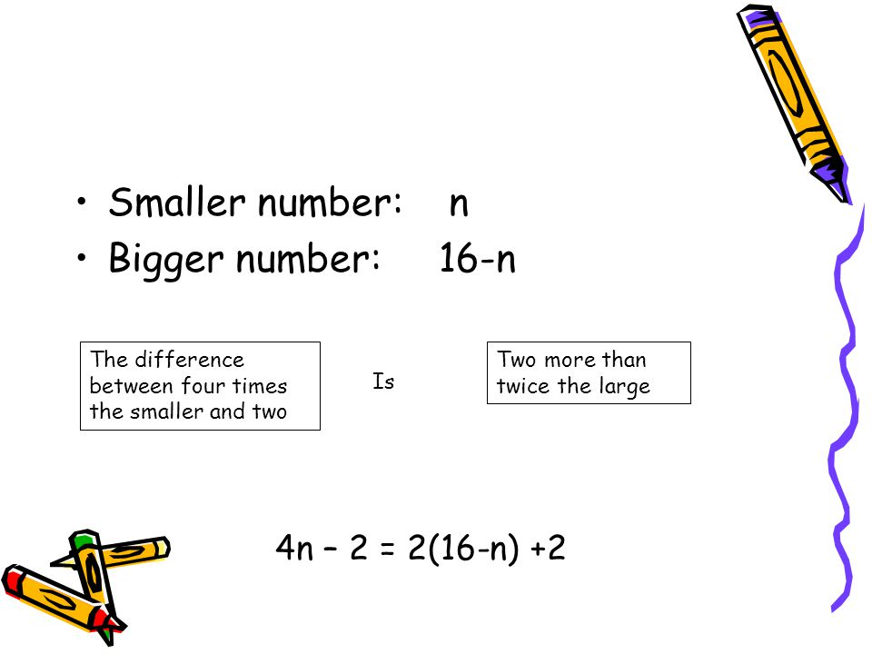 Smaller number: n Bigger number: 16-n 4n – 2 = 2(16-n) +2