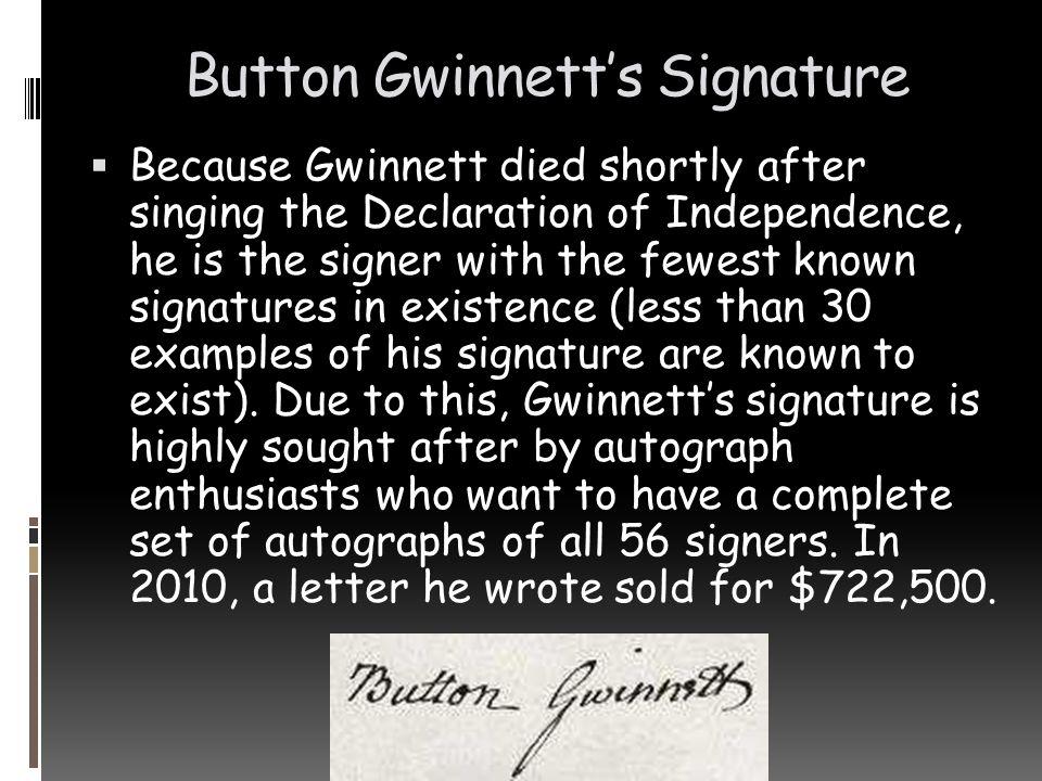 Button Gwinnett's Signature