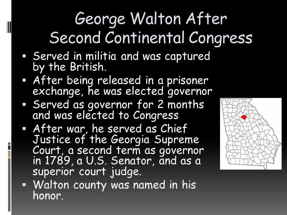 George Walton After Second Continental Congress