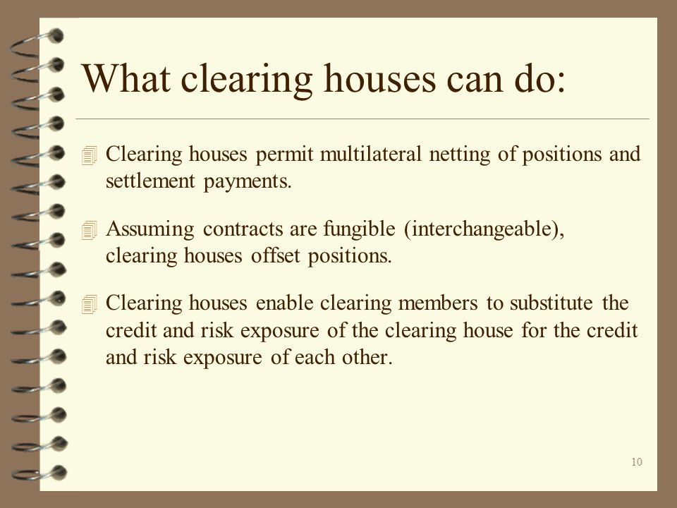 What clearing houses can do: