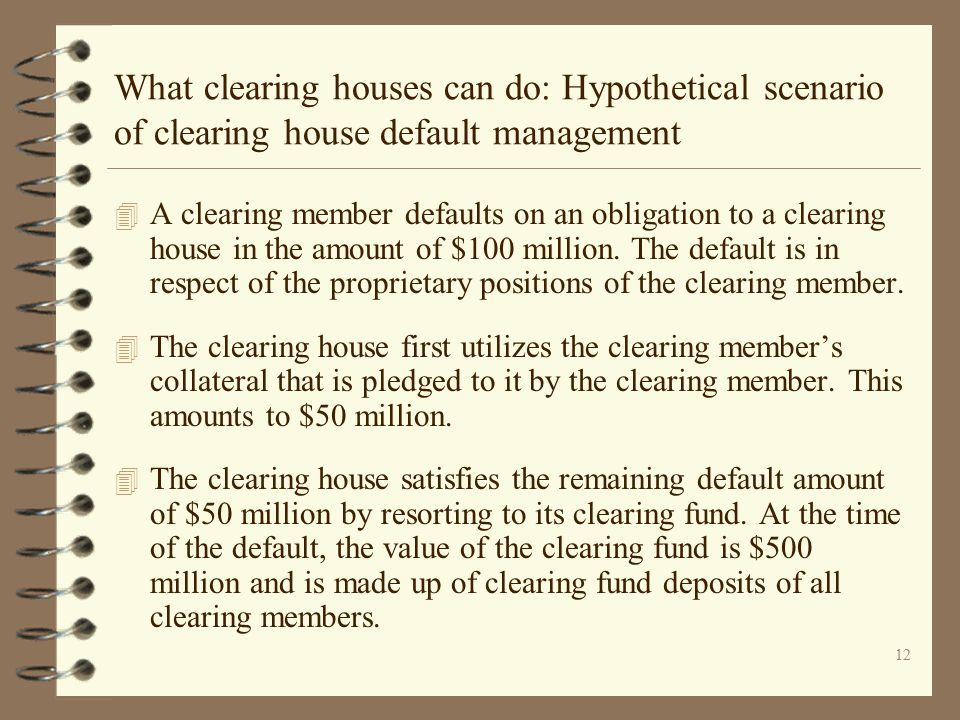 What clearing houses can do: Hypothetical scenario of clearing house default management