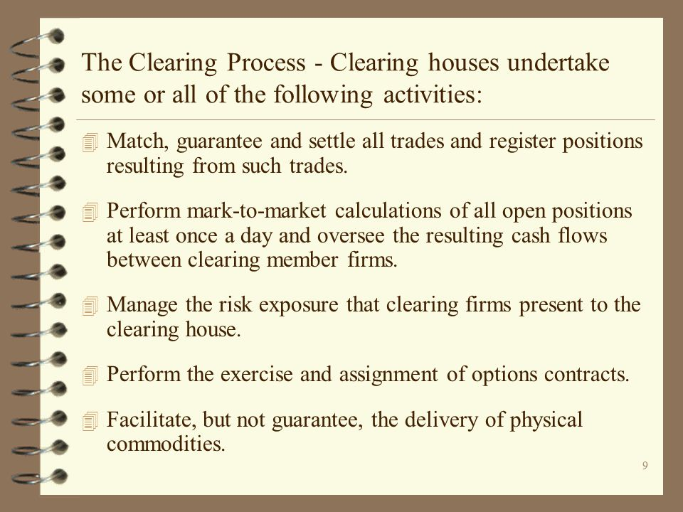 The Clearing Process - Clearing houses undertake some or all of the following activities: