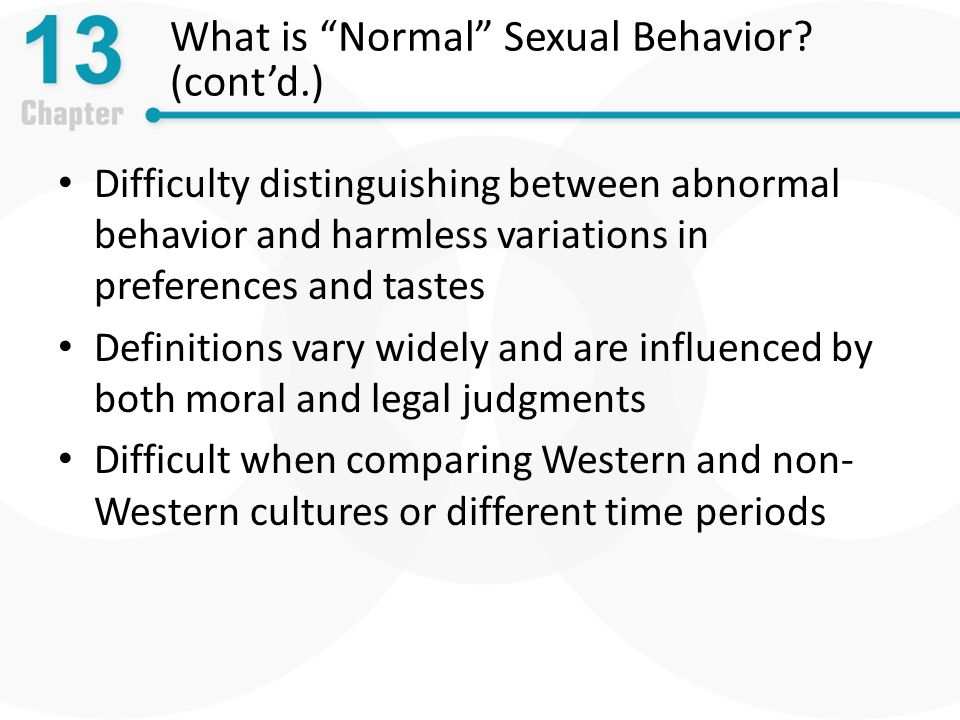 What is Normal Sexual Behavior (cont'd.)