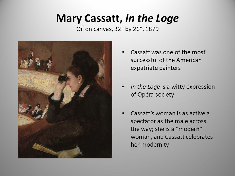 Mary Cassatt, In the Loge Oil on canvas, 32 by 26 , 1879
