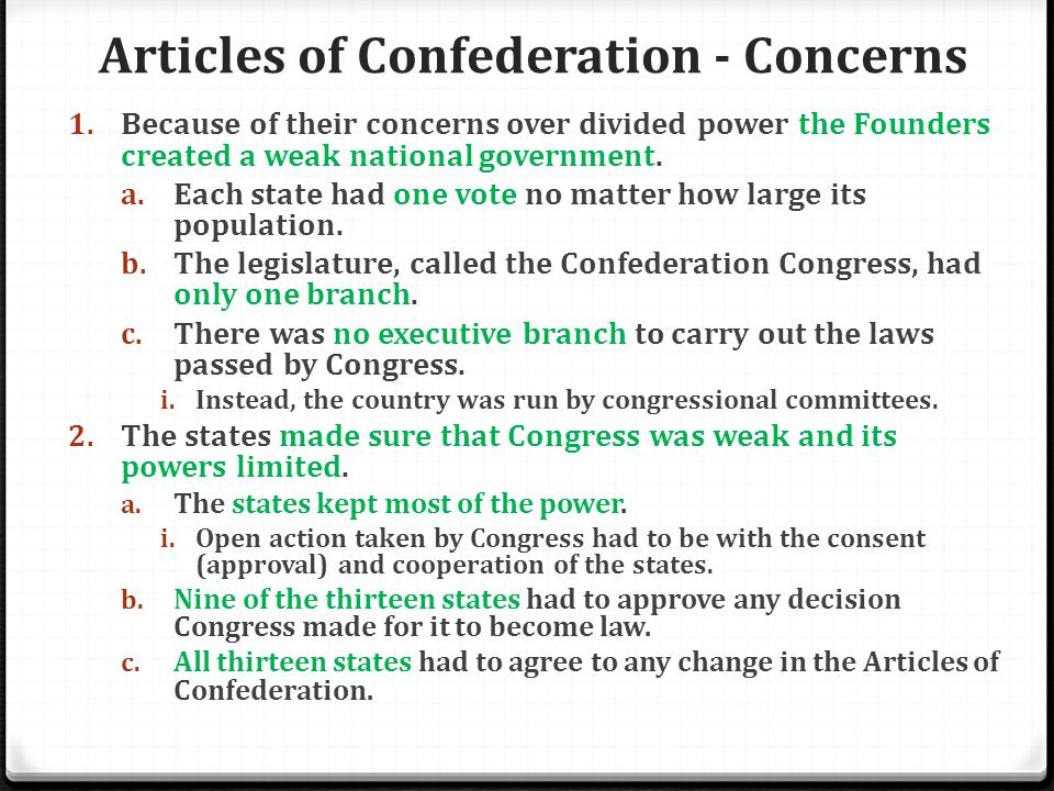 Articles of Confederation - Concerns