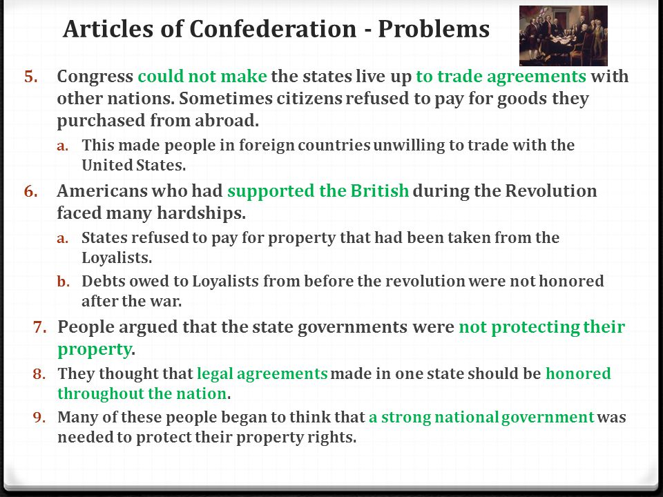 Articles of Confederation - Problems