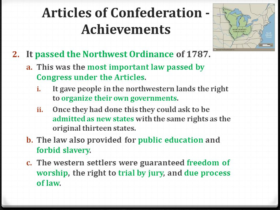 Articles of Confederation - Achievements