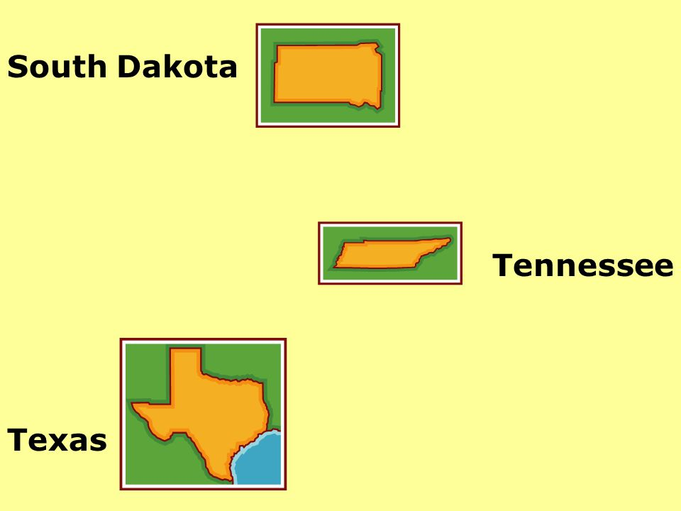 South Dakota Tennessee Texas