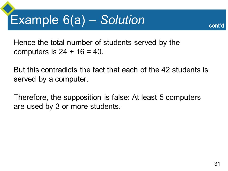 Example 6(a) – Solution cont'd. Hence the total number of students served by the computers is 24 + 16 = 40.