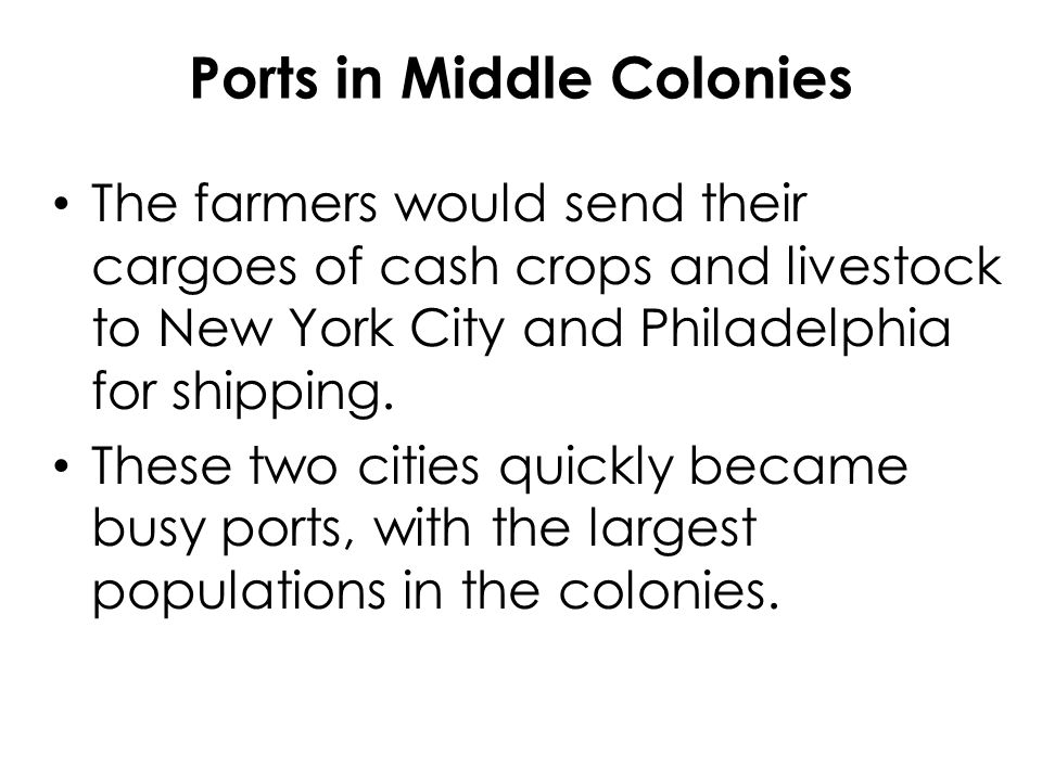 Ports in Middle Colonies