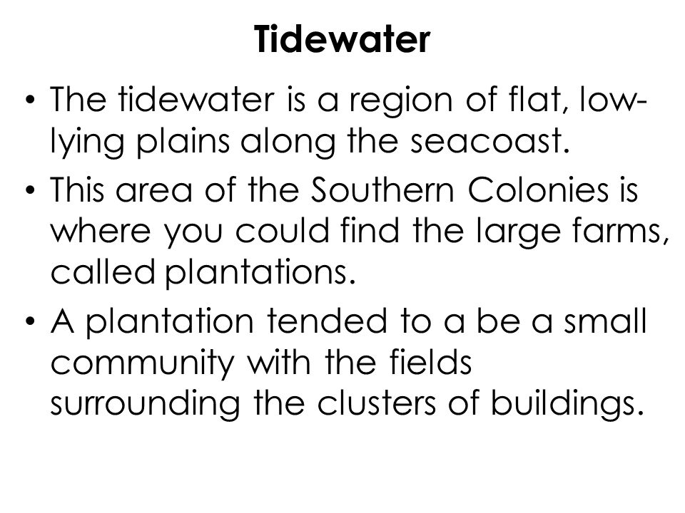 Tidewater The tidewater is a region of flat, low-lying plains along the seacoast.