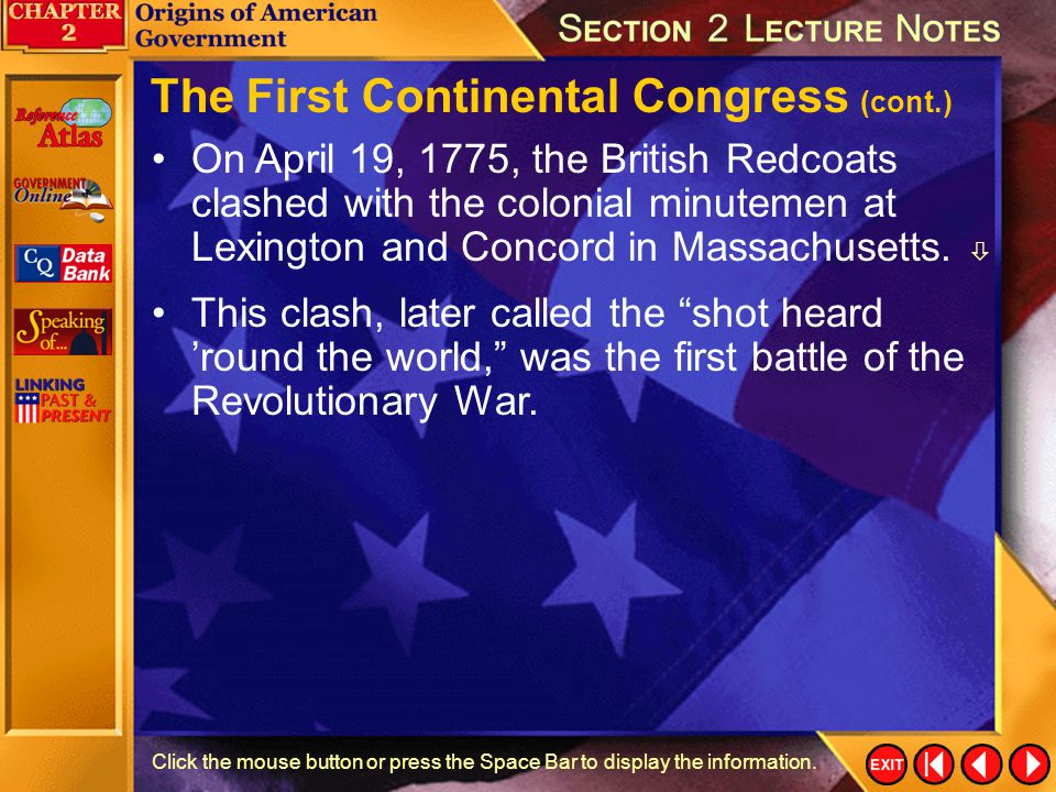 The First Continental Congress (cont.)