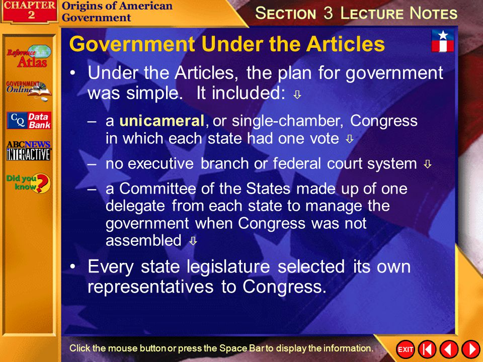 Government Under the Articles